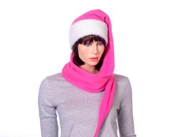 Extra Long Stocking Cap Hot Pink with Sherpa Headband Adult Men Women Scarf Hat 5 Foot Long Tail Hat Warm Winter Fleece Beanie