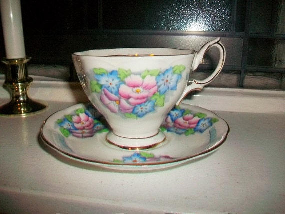 Royal Albert Tea Cup and Saucer Pink and Blue Flowers Gold Trim Vintage 1950s Hand Painted