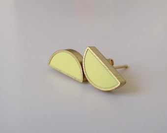 pastel yellow brass half moon stud earrings