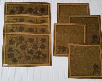 Vintage Brown Leaf Napkins and Placemats