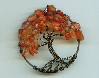 Carnelian Pendant Tree of Life
