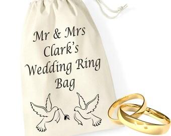 Personalised Doves Bride Groom Wedding Ring Bands Pouch Bag Drawstring Keepsake