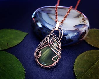 Wire wrapped pendant Copper pendant Wire wrapped jewelry Jasper pendant Copper wire jewelry Gift for her Boho necklace Delicate necklace