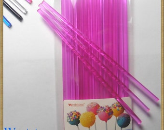 "50pcs 6"" (15cm) Pink Lollipop Sticks For Cake Pops or Lollipop Candy - Solid acrylic"