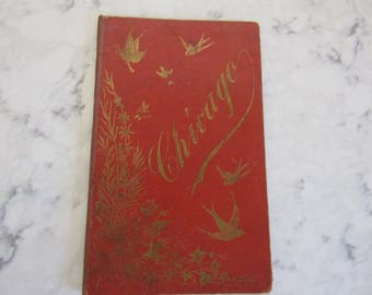 VINTAGE Antique 1930's CHICAGO Souvenir Photo Book with Gold Embossed Barn Swallows-Dated 1892--0318--00010