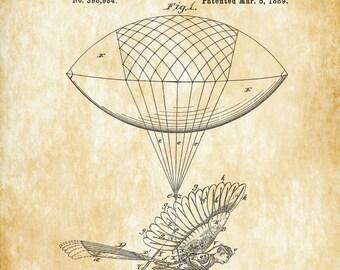 Balloon Bird Flying Machine Patent Print - Vintage Airplane, Airplane Blueprint, Airplane Art, Pilot Gift,  Aircraft Decor, Airplane Poster