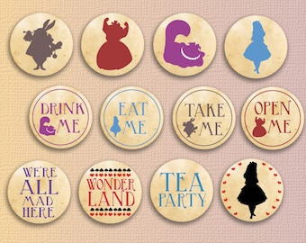 Alice in wonderland cupcake toppers party printables wonderland toppers decorations Instant download cake toppers alice in wonderland party