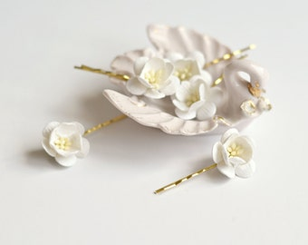 White flower clips, wedding hair pins, small floral bobby pins, bridal hair accessories by gardens of whimsy - Odette