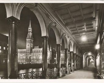 Vintage 1930s Postcard Hamburg Germany View of Town Hall from the Alsterkaden Scenic Architecture View RPPC Real Photograph Postally Unused
