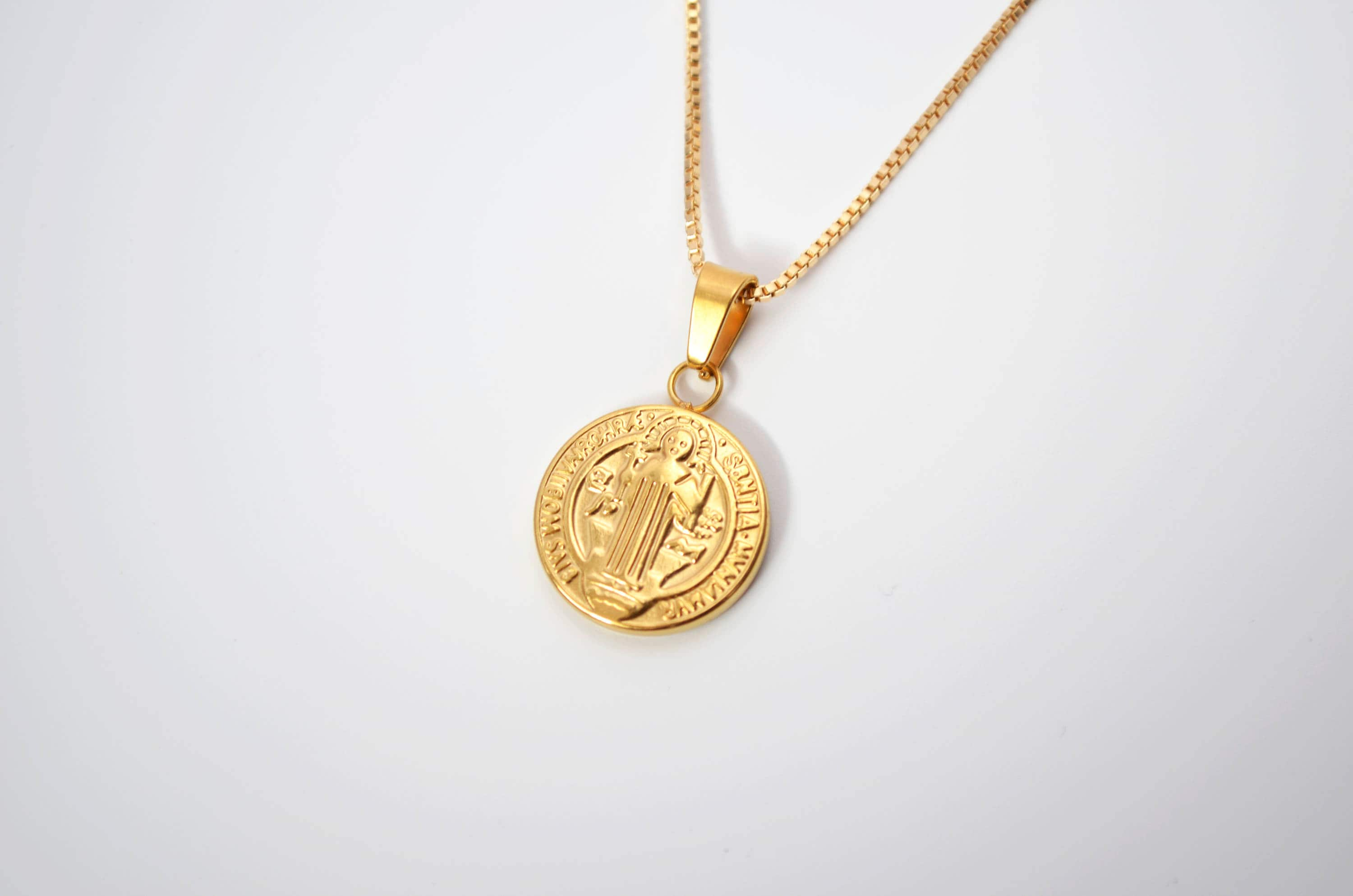 Saint Benedict Gold Medallion Necklace