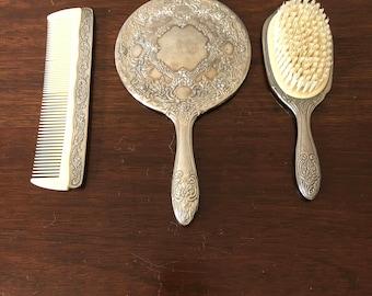 Silver Brush, Comb & Mirror Set