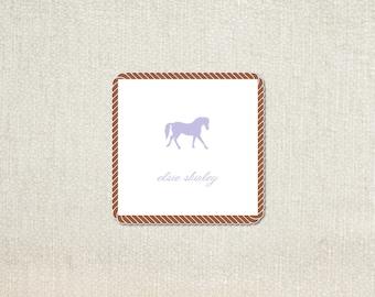 purple shilouette horse enclosure cards calling cards