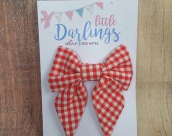 SALE! 30% OFF**Sailor Hair bow, Toddler hair bow, Baby hair bow, Teen hair bow, Girl Hair bow- Red Checkered