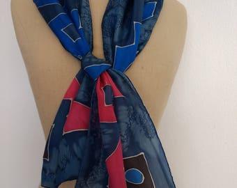 Hand Painted Silk Scarf. Vintage Silk Scarf. Silk Head Scarf.  Southwestern Scarf.