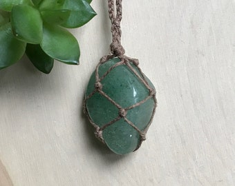 Green Aventurine Healing Crystal Necklace - Hemp Wrapped Crystal Pendant - Lucky Stone - Boho Style Necklace - Wrapped Stone Necklace