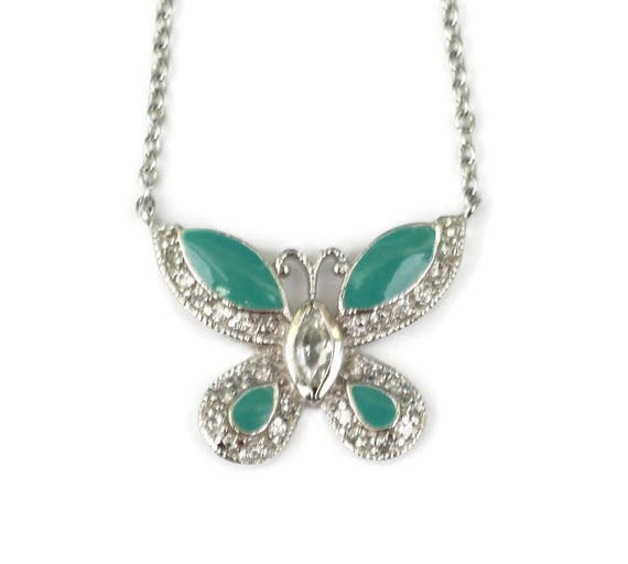 Green Enameled Butterfly Pendant Necklace Crystals Signed FAS Vintage