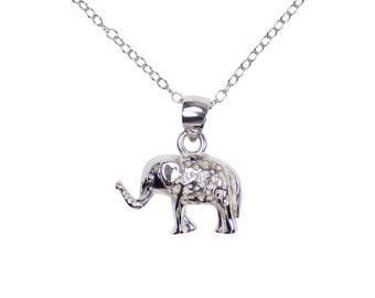 Elephant Pendant Necklace for Women 925 Sterling Silver Chain Good Luck Tiny Little Amulet Baby Elephant Lucky Charm Animal Jewelry
