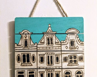 Amsterdam Houses Original Woodburn Wall Hanging