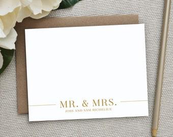 Wedding Thank You Cards.  Wedding Thank You Notes. Personalized Stationery. Notecard. Stationary. Note Card. Wedding. Newlyweds. Mr. & Mrs.