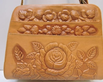 Vintage Hand Tooled Awesome Mexican Leather Purse