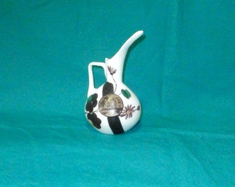 milky glass jug/pitcher/vase, hand-painted/modernist shape/glassware/British
