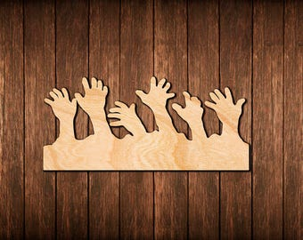 Zombie Hands Wall Sign / Halloween Decoration / Logo Wooden Cutout Room  Decoration / Wood Hanging