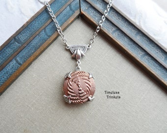 Vintage German Glass Button Necklace, Faux Fabric, Knot Design, Silver Ox, Copper, Matte Finish