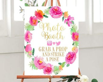 Photo Booth Sign, Wedding signs, Instant Download, Grab A Prop, Strike A Pose,  Printable Wedding sign, Wedding Printables, Floral Sign