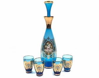 Decanter Set with Blue Venetian Glass & Enamel Flower Accents and 5 Cordial Shot Glasses, Vintage Bar Decor