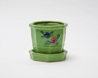 Japanese Green Octagon Flower Pot