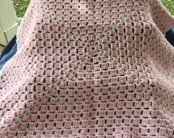 Pink and White Baby Afghan includes Free Shipping