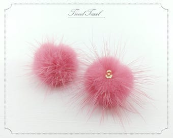 2 PCS - Coral 30mm Genuine Mink Fur Ball with Ring Cap, Pom pom for earrings necklace charm, wedding accessories