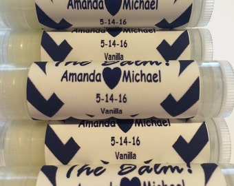 Wedding Favors, Our Love is the Balm Lip Balm Favors, Bridal Party Favors,  Chevron Personalized Labels