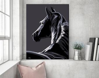 Large wall art, horse wall art, gift for horse lover, horse art, horse gift, canvas art, horse canvas, pop art canvas, large canvas print