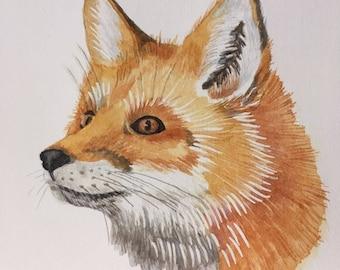 close-up fox, original watercolor painting