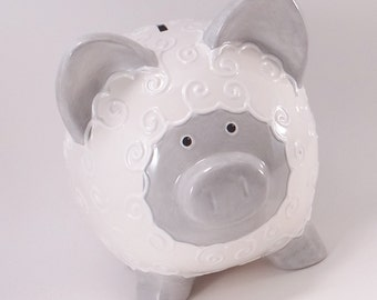 Gray & White Lamb Bank - Lamb Piggy Bank - Personalized Piggy Bank - Farm Theme Piggy Bank -Baby Gift - with hole or NO hole in bottom