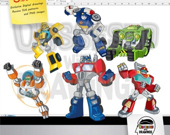 Transformers Rescue Bots clipart, PNG images with excellent resolution and SVG patterns, papecraft applications, stickers and more