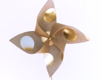 Pinwheel Cupcake Topper-Pinwheel Decor-Kraft with Gold Dots-Pinwheel Decoration-Set of 12