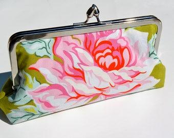 Metal-frame clutch cotton purse flowers Flower green evening bag wedding frame bridalclutch cosmeticbag frame handbag clutch bag clip