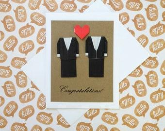 Gay Wedding Card: Heart Card - Handmade Origami Wedding Card - 3D Wedding Card - Black Suit - Mr and Mr - LGBT - Minimalist Card - Gay Love