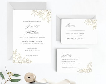 Modern Gold Dust Floral Watercolor Wedding Invitation Suite, Wedding Invitation Printable,Invitation Set,PDF Letter or A4 (Item code: P1086)