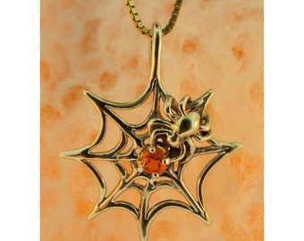 Spider Web Necklace With Fire Opal Solid 14k Gold - Gold Spider and Web Fire Opal Jewelry - Spider Jewelry Spider Web Jewelry Gold Necklace