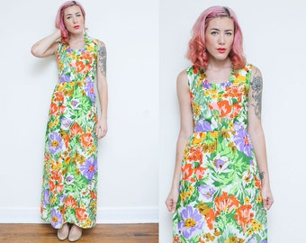 60s floral MAXI dress // white medium sleeveless MOD gown // ruffle collar colorful