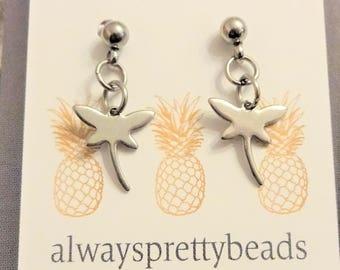 STAINLESS STEEL DRAGONFLY earrings - post dangle earrings - all stainless steel - non tarnish, hypoallergenic, sensitive ears earrings
