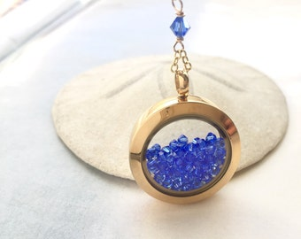 Y necklace, memory locket, glass locket, floating locket, Y necklace, personalized jewelry, bridal necklace,Sapphire blue crystal locket