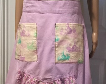 Apron Rabbits Bunnies Spring Wearable Art SewBeeMine One of a Kind