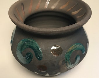 Vase/Raku Wheel Thrown Pottery Vase with Green and Bronze Glaze