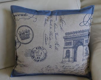 Beige PARIS pillow cover and back storm blue. Sold individually