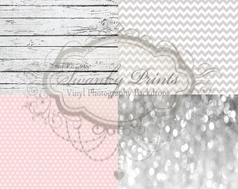 """SAMPLE PACK / FOUR 12"""" x 12"""" Shabby Chic Combo / Wood  / Vinyl Photography Backdrops for Product Photos"""