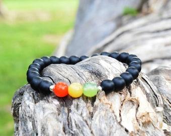 Perlen Armband / / Unisex Armband / / Edelsteinperlen / / matt schwarz Onyxperlen / / Rasta Armband